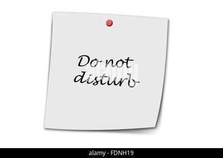 do not disturb written on a memo isolated on white - Stock Photo