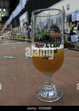 Manchester Central CAMRA winter beer festival 2016,Lancs,England, UK Beer Glass - Stock Photo