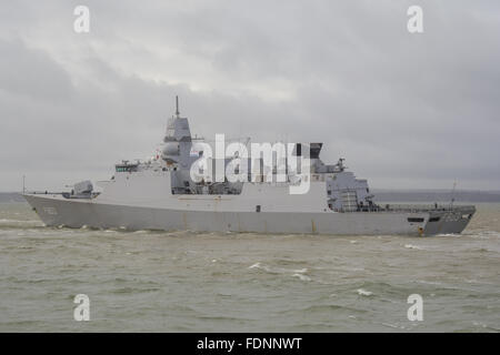 HNLMS Tromp (F803) departing Portsmouth, UK. - Stock Photo