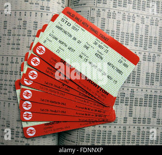 British Rail Tickets on a timetable,England,UK - Stock Photo