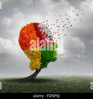Dementia brain loss memory problem and aging due to cognitive disease and alzheimer's illness as a medical icon - Stock Photo