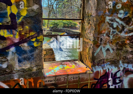 Lullwater Waterfall Spillway Through a window - Stock Photo