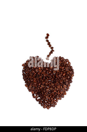 Studio shot of a coffee Lovers Heart of Coffee Beans - Stock Photo