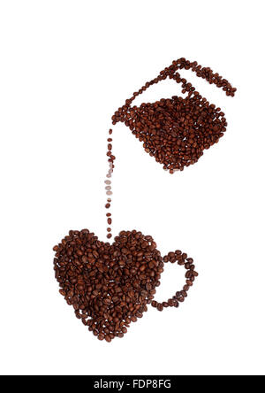 Studio shot of a coffee Lover's Heart Made of Coffee Beans - Stock Photo