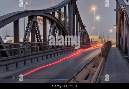 track lighting,swing bridge,krefeld - Stock Photo