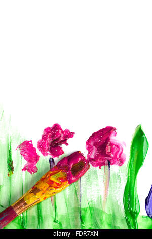 painting,paintbrush,child's drawing - Stock Photo