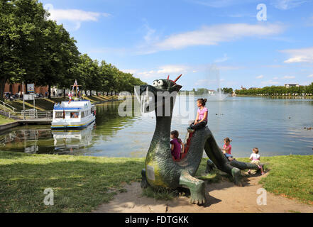 Schwerin, Germany, overlooking the Pfaffenteich - Stock Photo