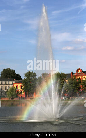 Schwerin, Germany, overlooking the Wasserfontaene in Pfaffenteich - Stock Photo
