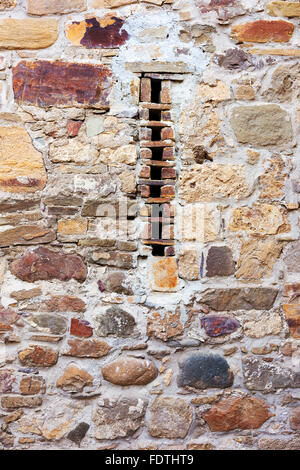 Abstract old stone wall with cracks and scratches. Landscape style. Great background or texture. - Stock Photo