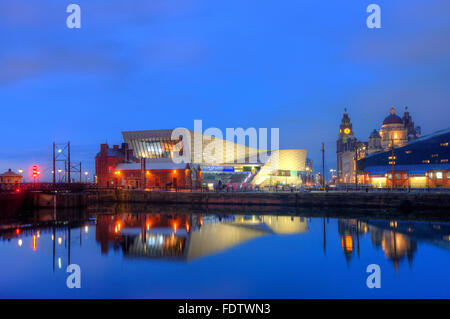 The Museum of Liverpool from the Albert Dock, Liverpool, Merseyside - Stock Photo