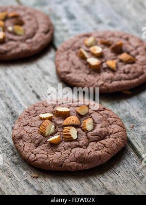 Vegan flowerless gluten free chocolate cookies with almonds. - Stock Photo