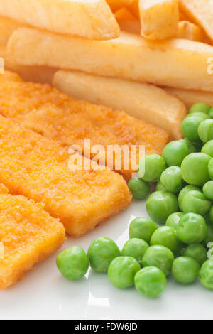 Fish fingers chips and peas a popular menu item for cafes and restaurants - Stock Photo