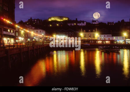 Christmas in Oban with McCaigs tower as seen from the north pier.Oban,Argyll,scotland.2008 - Stock Photo