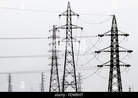 Graphic image of electricity pylons in rural Kanagawa, Japan - Stock Photo