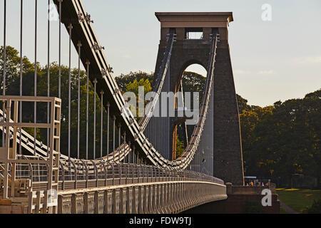 Clifton Suspension Bridge in early morning sunlight, Clifton, Bristol, Great Britain. - Stock Photo