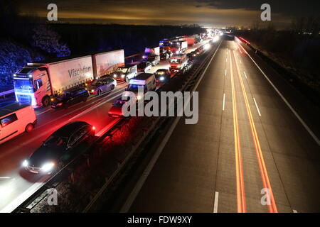 Trucks and cars queue during a traffic jam on the A9 motorway near Wiedemar in Berlin, Germany, 25 January 2016. - Stock Photo