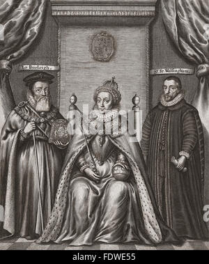 From left to right: William Cecil, 1st Baron Burghley, 1520-1598. Statesman, advisor to Queen Elizabeth I.  Queen - Stock Photo