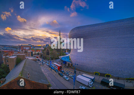 The iconic selfridges building in birmingham city centre covered in sunset over the parish church of st martin in the bullring and selfridges building birmingham malvernweather Images
