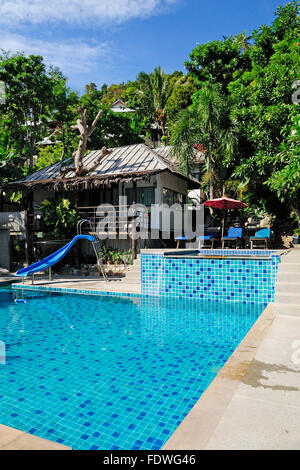the side of a swimming pool on salad beach resort in Koh Phangan Thailand - Stock Photo