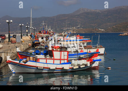 Sitia, small port in the eastern part of the Greek island Crete, coloured fishing boats in the harbour - Stock Photo