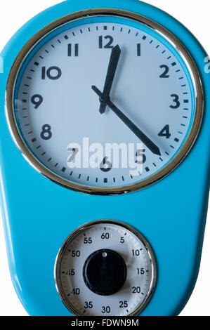 Blue kitchen clock and egg timer isolated on a white background.  Model Release: No.  Property Release: No. - Stock Photo