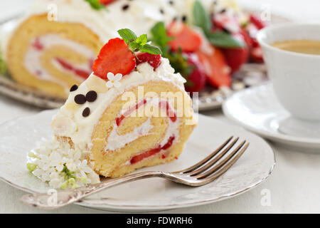 Strawberry cake with cream cheese and whipped cream - Stock Photo