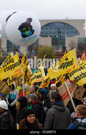Berlin, Germany, Global Climate March in front of the Chancellery - Stock Photo