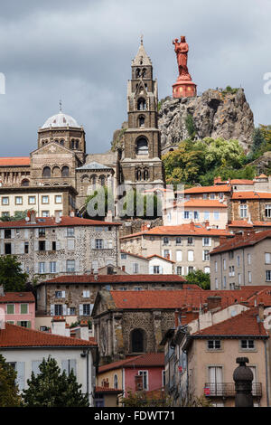 Statue of Notre Dame de France, Rocher Corneille, Le Puy-en-Velay, Haute-Loire, France - Stock Photo