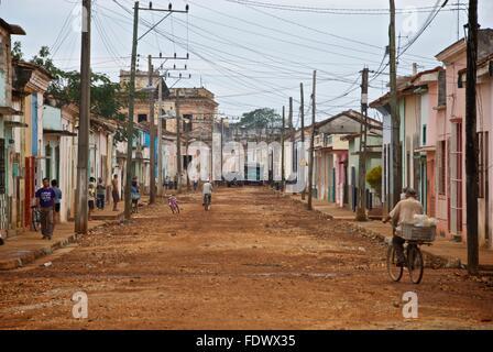 Main street in Remedios, Cuba. - Stock Photo