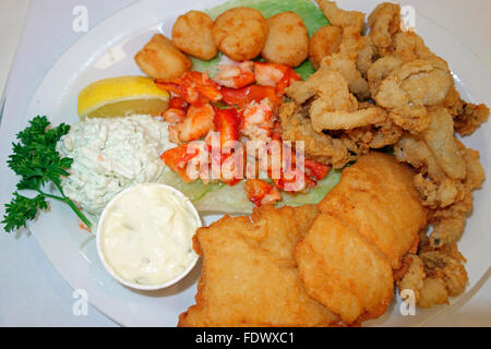 A seafood platter meal in a restaurant showing lobster, fried clams, fried scollops, fried haddock fish and coldslaw - Stock Photo