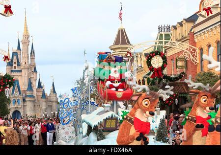 Christmas Parade with Santa Claus in Magic Kingdom, Florida - Stock Photo