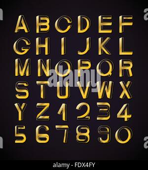 Impossible font set, including numerals. Golden gradients with thin lines. - Stock Photo