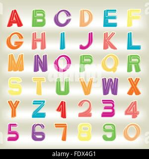 Impossible font set, including numerals, rainbow colors and gradients are applied. - Stock Photo