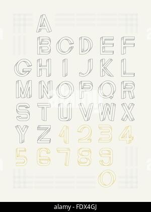 Impossible font set, including numerals. Raster dots pattern is applied. - Stock Photo