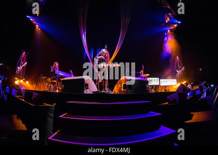 Milan Italy. 01th February 2016. The German pop singer Sara Hartman performs live on stage at Mediolanum Forum opening - Stock Photo