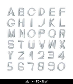 Impossible font set, including numerals. Silver gradients with edges. - Stock Photo