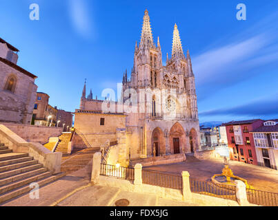 Burgos Cathedral in the evening light, Spain - Stock Photo