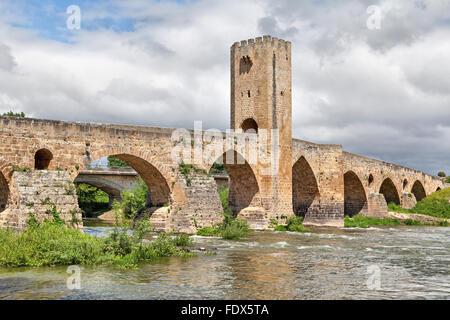 Medieval stone bridge in Frias, Burgos province, Spain - Stock Photo