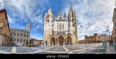 Panorama of Plaza de Regla and Leon Cathedral, Castile and Leon, Spain - Stock Photo