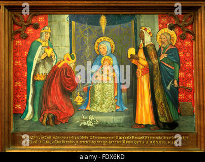 The Magi presenting gifts to Jesus, painting on wood, Three Wise Men, Three Kings, gold, frankincense, myrrh, Langham, - Stock Photo
