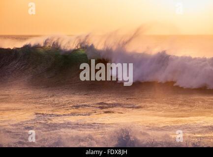 Ocean waves, evening light, Atlantic, Valle Gran Rey, La Gomera, Canary Islands, Spain - Stock Photo