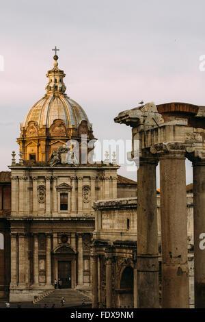 Sunset light on the Roman Forum in Rome, Italy - Stock Photo