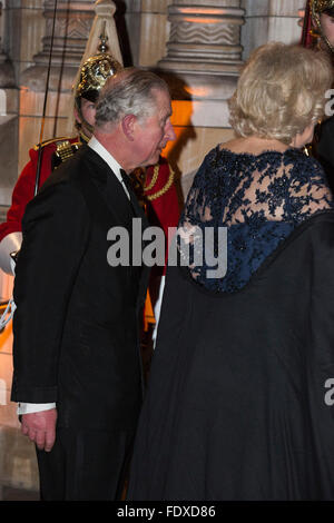 London, UK. 2 February 2016. Prince Charles, the Prince of Wales with Camilla, Duchess of Cornwall. Red carpet arrivals - Stock Photo