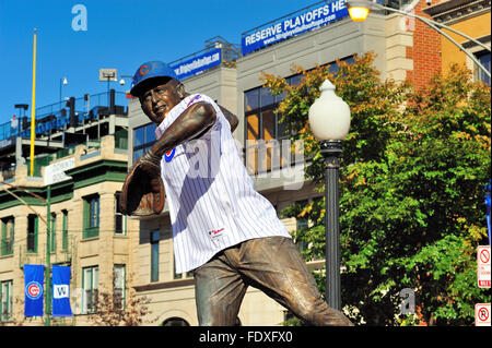 The statue of Ron Santo in front of the Addison and Sheffield entrance to Chicago's Wrigley Field. Chicago, Illinois, - Stock Photo