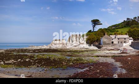 Panoramic view of Lee Bay on the North Devon coast of England. - Stock Photo