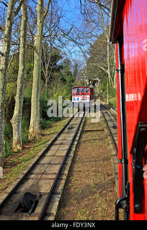 The old fashioned funicular of Monte Igueldo, San Sebastian (Donostia), Basque Country, Spain. - Stock Photo