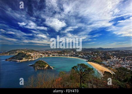 Panoramic view of Donostia-San Sebastian, from Monte Igueldo. Basque Country, Spain. - Stock Photo