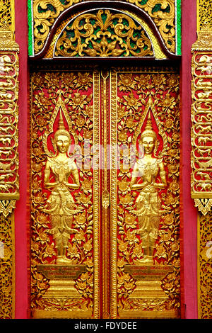 Wood carvings on a temple door of Wat Fon Soi Chiang Mai Thailand - & Door at Wat Fon Soi Buddhist temple in Chiang Mai Thailand Stock ... Pezcame.Com