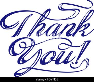 thank you words hand written with swirls. vector - Stock Photo