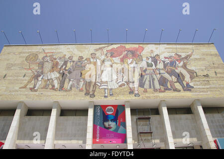 Mosaic and fashion poster, facade of the National Museum of History, Tirana - Stock Photo